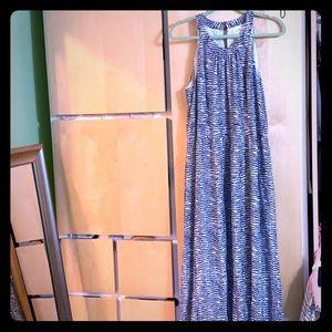 Vineyard Vines Navy Blue & White Pretty Maxi Dress